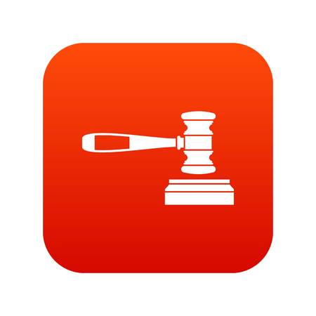 Judge gavel icon digital red for any design isolated on white vector illustration