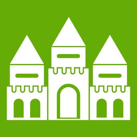 Children house castle icon white isolated on green background. Vector illustration Illustration