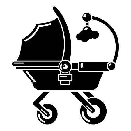 Baby carriage cute icon. Simple illustration of baby carriage cute vector icon for web Illustration
