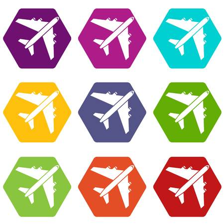 pilot  cockpit: Passenger airliner icon set many color hexahedron isolated on white vector illustration
