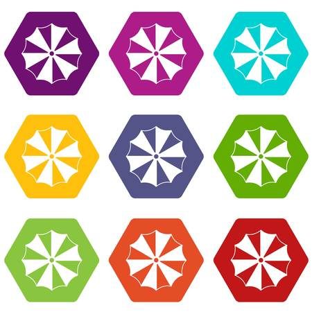 Striped umbrella icon set many color hexahedron isolated on white vector illustration