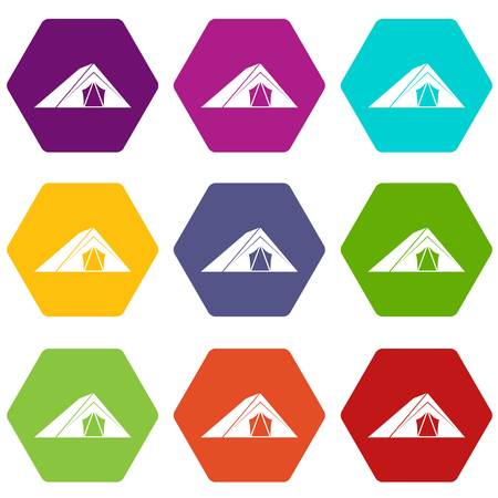 Tent icon set many color hexahedron isolated on white vector illustration Illustration