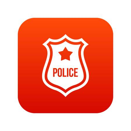 Police badge icon digital red for any design isolated on white vector illustration