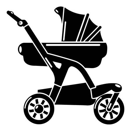 Baby carriage designer icon, simple black style
