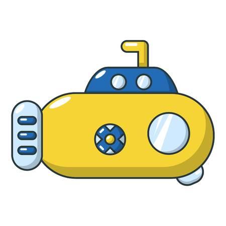 Submarine transport icon, cartoon style