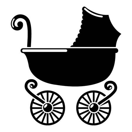 Baby carriage vintage icon, simple black style