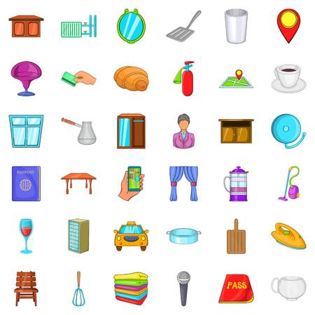 apartment bell: Hotel icons set, cartoon style