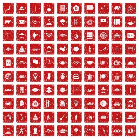 100 dish icons set grunge red 向量圖像