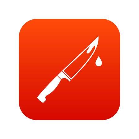Steel knife icon digital red