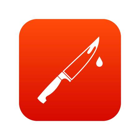 Steel knife icon digital red