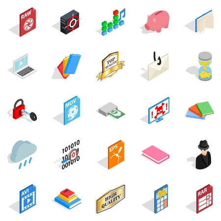 Type icons set, isometric style