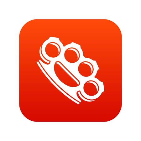 Brass knuckles icon digital red