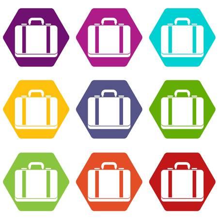 Suitcase icon set color hexahedron