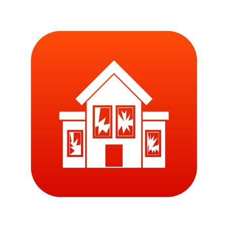 House with broken windows icon digital red