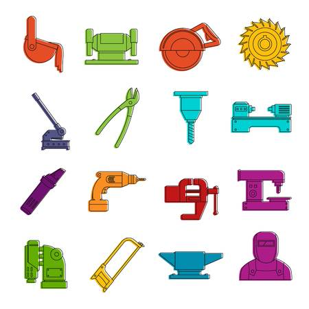 Metal working icons doodle set Illustration
