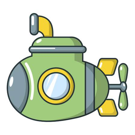 Submarine military icon, cartoon style