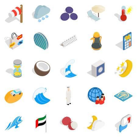 Education abroad icons set, isometric style Illustration