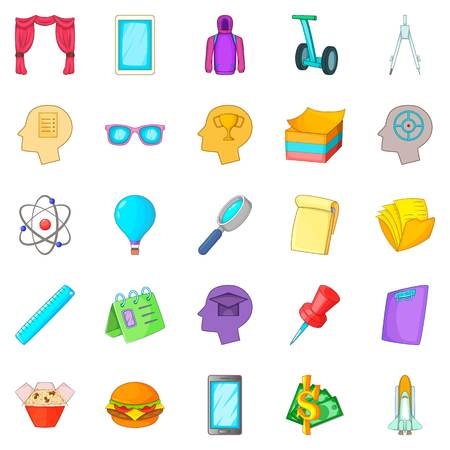 Science project icons set, cartoon style Illustration