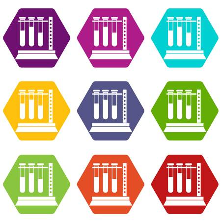 Medical test tubes in holder icon set color hexahedron Stock Vector - 89215346