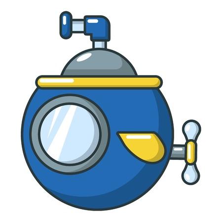Submarine travel icon, cartoon style Illustration