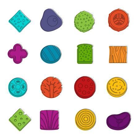 Slice food ingredient icons doodle set Illustration