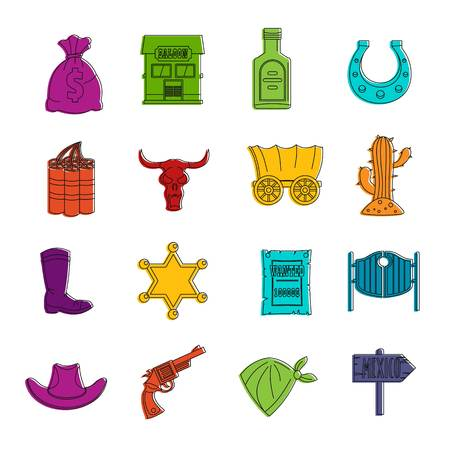 Wild west icons doodle set Illustration