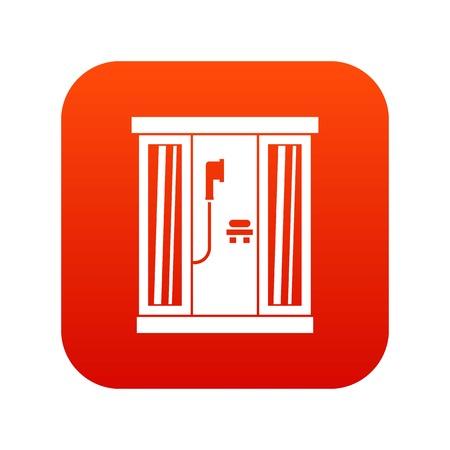 Shower cabin icon digital red Illustration
