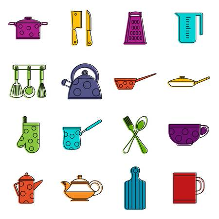 Kitchen tools and utensils icons set. Doodle illustration of vector icons isolated on white background for any web design Illustration