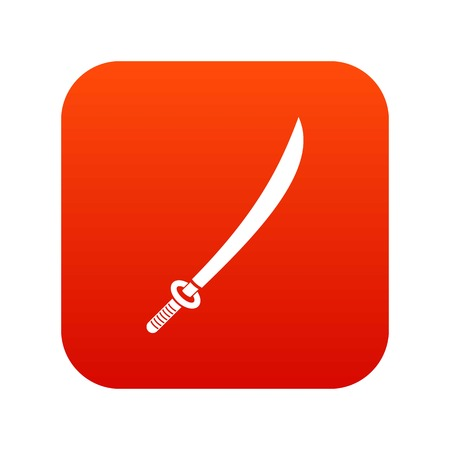 Katana icon digital red for any design isolated on white vector illustration