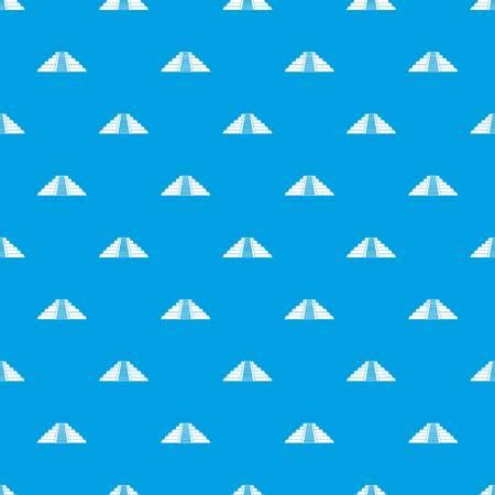 Ziggurat in Chichen Itza, Yucatan pattern repeat seamless in blue color for any design. Vector geometric illustration 向量圖像