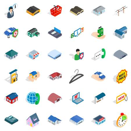 House icons set. Isometric style of 36 house vector icons for web isolated on white background Ilustração