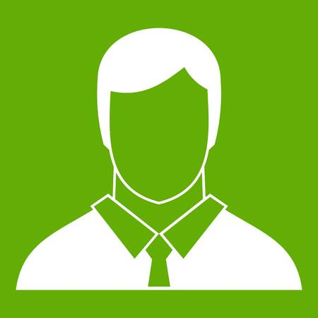 Manager icon white isolated on green background. Vector illustration
