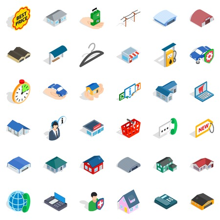 Hanger icons set. Isometric style of 36 hanger vector icons for web isolated on white background