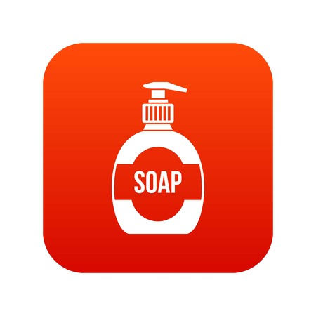 dishwashing liquid: Bottle of liquid soap icon digital red for any design isolated on white vector illustration