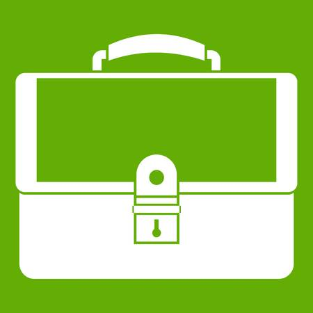 Briefcase icon white isolated on green background. Vector illustration
