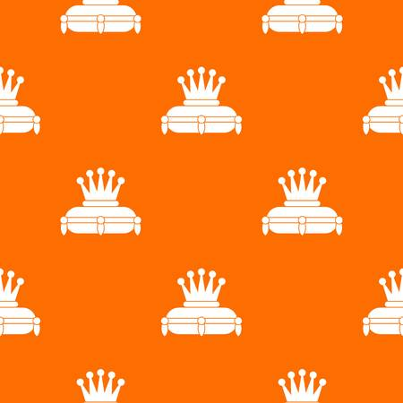 Crown king pattern repeat seamless in orange color for any design. Vector geometric illustration Illustration