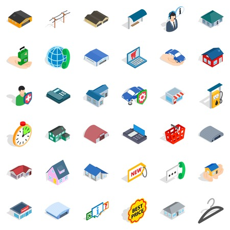 Garage icons set. Isometric style of 36 garage vector icons for web isolated on white background