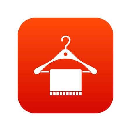 Scarf on coat hanger icon digital red for any design isolated on white vector illustration