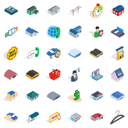 Window icons set. Isometric style of 36 window vector icons for web isolated on white background