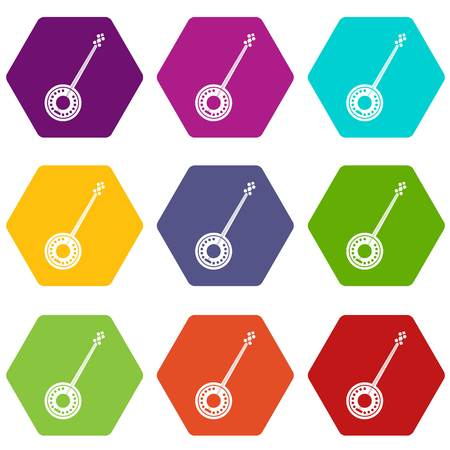 Banjo icon set many color hexahedron isolated on white vector illustration Ilustrace