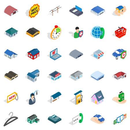 Roof icons set. Isometric style of 36 roof vector icons for web isolated on white background