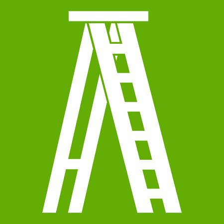Stepladder icon white isolated on green background. Vector illustration