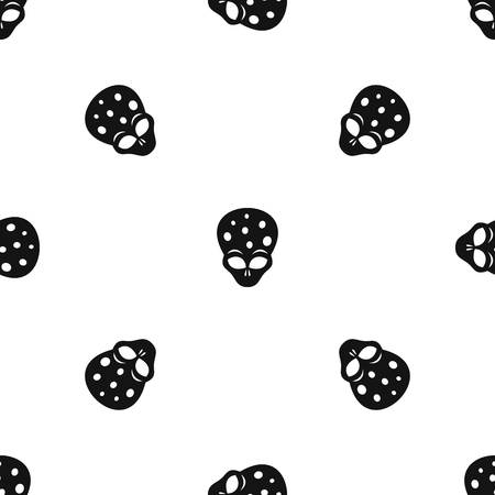 ufology: Extraterrestrial alien head pattern repeat seamless in black color for any design. Vector geometric illustration Illustration