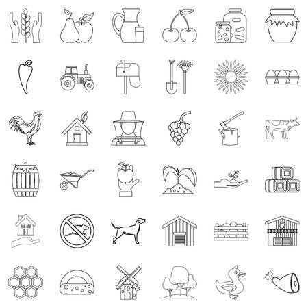 Housecraft icons set. Outline style of 36 housecraft vector icons for web isolated on white background Illustration