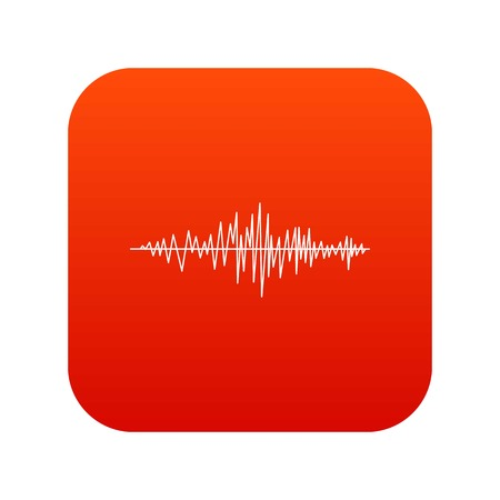 Sound wave icon digital red for any design isolated on white vector illustration