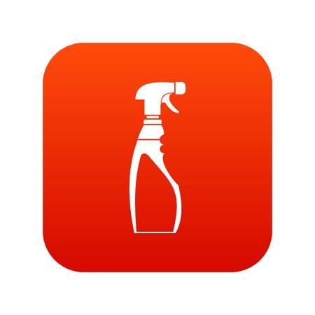 Rojo digital del icono de la botella del rociador para cualquier diseño aislado en la ilustración blanca del vector