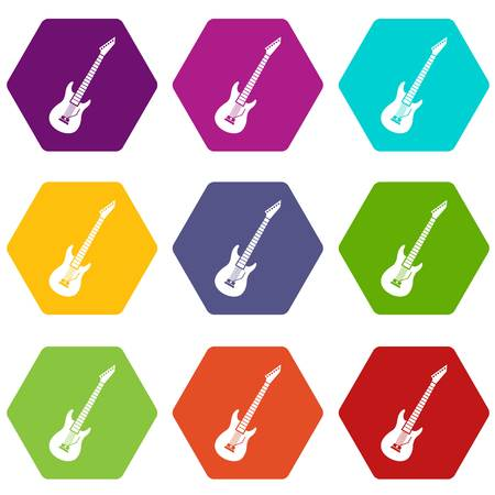 Electric guitar icon set many color hexahedron isolated on white vector illustration
