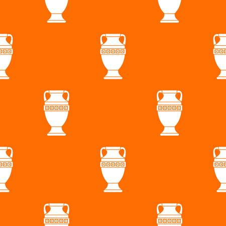 vasi greci: Ancient jug pattern repeat seamless in orange color for any design. Vector geometric illustration Vettoriali