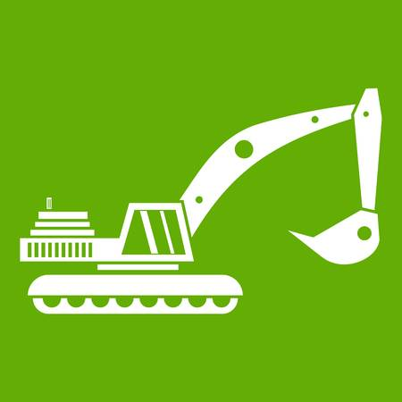 Excavator icon white isolated on green background. Vector illustration Illustration