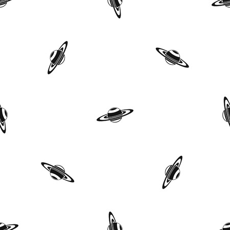 Saturn rings pattern repeat seamless in black color for any design. Vector geometric illustration Illustration
